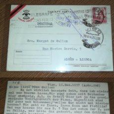 Sellos: ESPAÑA SPAIN GUERRA CIVIL TARJETA POSTAL POSTCARD 1937 CIRCULADA CENSURA MILITAR VIGO. Lote 190191456