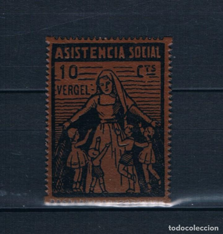 SELLO LOCAL GUERRA CIVIL VERGEL ASISTENCIA SOCIAL 10 CTS. ** LOT010. (Sellos - España - Guerra Civil - Locales - Nuevos)
