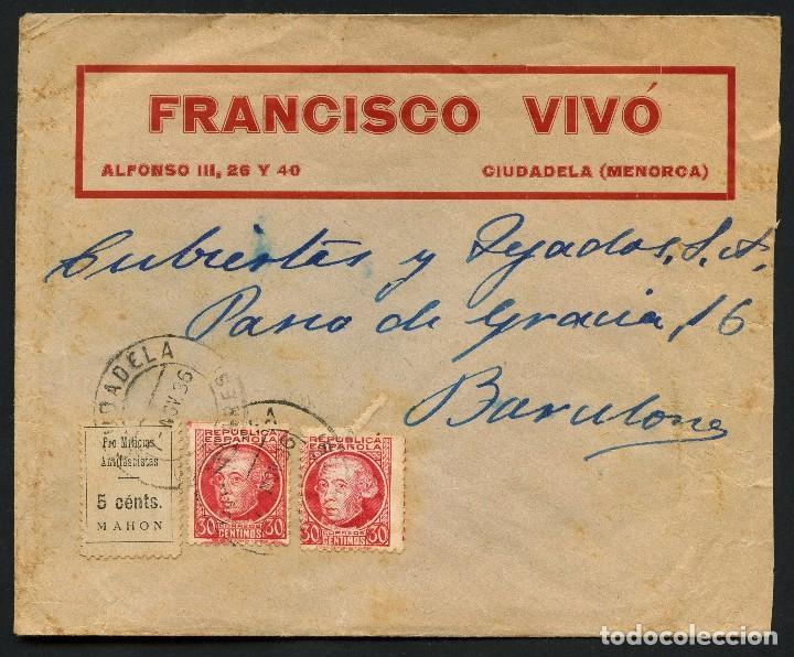 GUERRA CIVIL, VIÑETA, SOBRE, PRO MILICIAS ANTIFACISTAS, 1936, MAHON, MENORCA (Sellos - España - Guerra Civil - De 1.936 a 1.939 - Cartas)