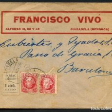 Sellos: GUERRA CIVIL, VIÑETA, SOBRE, PRO MILICIAS ANTIFACISTAS, 1936, MAHON, MENORCA. Lote 170975719