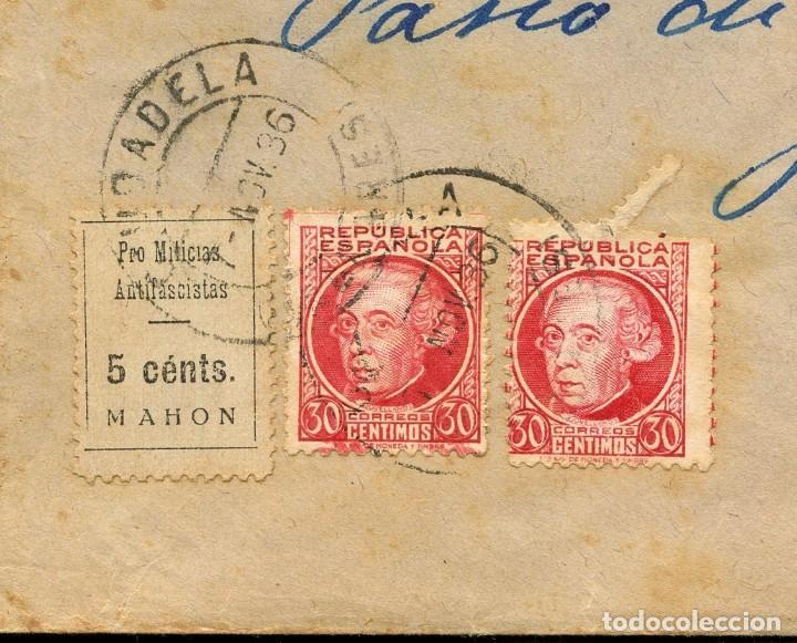 Sellos: GUERRA CIVIL, VIÑETA, SOBRE, PRO MILICIAS ANTIFACISTAS, 1936, MAHON, MENORCA - Foto 2 - 170975719