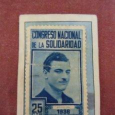 Sellos: GUERRA CIVIL.VIÑETA CONGRESO NACIONAL DE LA SOLIDARIDAD 1938.25CTS.. Lote 170978737