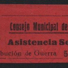 Sellos: GANDIA,-VALENCIA, 5 CTS. ASISTENCIA SOCIAL, VER FOTO. Lote 170986369