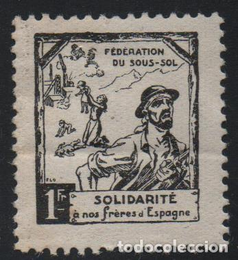 VIÑETA, 1 F.F. -SOLIDARITE A NOS FRERES D ESPAGNE, VER FOTOS (Sellos - España - Guerra Civil - De 1.936 a 1.939 - Usados)