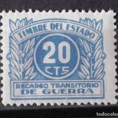 Sellos: TIMBRE, RECARGO GUERRA; NUEVO, SIN CH.; VALOR 20 CTS.. Lote 171090717