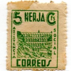 Sellos: SELLO LOCAL GUERRA CIVIL 5 CENTIMOS ASISTENCIA SOCIAL NERJA (VERDE). Lote 171239578