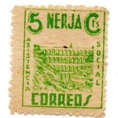 Sellos: SELLO LOCAL GUERRA CIVIL 5 CENTIMOS ASISTENCIA SOCIAL NERJA (VERDE). Lote 171239602