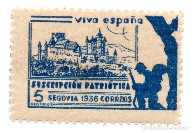 SELLO LOCAL GUERRA CIVIL 5 CÉNTIMOS SUSCRIPCIÓN PATRIÓTICA 1936 SEGOVIA (AZUL) (Sellos - España - Guerra Civil - Locales - Nuevos)