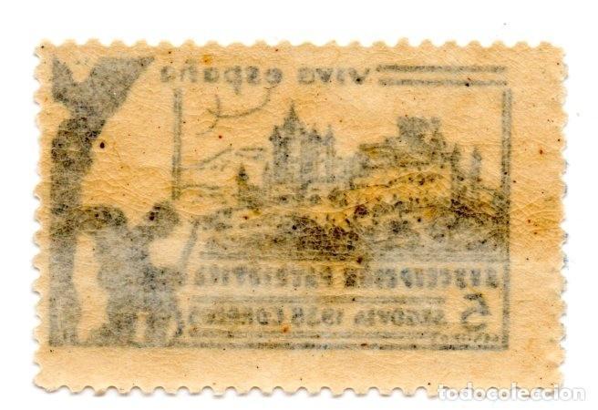 Sellos: SELLO LOCAL GUERRA CIVIL 5 CÉNTIMOS SUSCRIPCIÓN PATRIÓTICA 1936 SEGOVIA (AZUL) - Foto 2 - 171269943