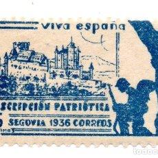Sellos: SELLO LOCAL GUERRA CIVIL 5 CÉNTIMOS SUSCRIPCIÓN PATRIÓTICA 1936 SEGOVIA (AZUL). Lote 171269977