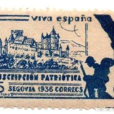 Sellos: SELLO LOCAL GUERRA CIVIL 5 CÉNTIMOS SUSCRIPCIÓN PATRIÓTICA 1936 SEGOVIA (AZUL). Lote 171269998
