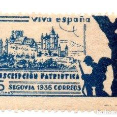 Sellos: SELLO LOCAL GUERRA CIVIL 5 CÉNTIMOS SUSCRIPCIÓN PATRIÓTICA 1936 SEGOVIA (AZUL). Lote 171270039