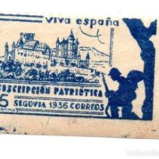 Sellos: SELLO LOCAL GUERRA CIVIL 5 CÉNTIMOS SUSCRIPCIÓN PATRIÓTICA 1936 SEGOVIA (AZUL). Lote 171270079