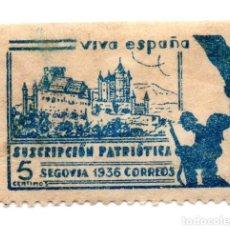 Sellos: SELLO LOCAL GUERRA CIVIL 5 CÉNTIMOS SUSCRIPCIÓN PATRIÓTICA 1936 SEGOVIA (AZUL). Lote 171270112