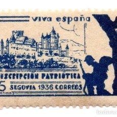 Sellos: SELLO LOCAL GUERRA CIVIL 5 CÉNTIMOS SUSCRIPCIÓN PATRIÓTICA 1936 SEGOVIA (AZUL). Lote 171270152