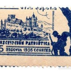 Sellos: SELLO LOCAL GUERRA CIVIL 5 CÉNTIMOS SUSCRIPCIÓN PATRIÓTICA 1936 SEGOVIA (AZUL). Lote 171270187