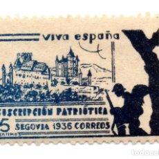 Sellos: SELLO LOCAL GUERRA CIVIL 5 CÉNTIMOS SUSCRIPCIÓN PATRIÓTICA 1936 SEGOVIA (AZUL). Lote 171270230