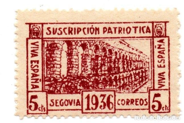 SELLO LOCAL GUERRA CIVIL 5 CÉNTIMOS SUSCRIPCIÓN PATRIÓTICA 1936 SEGOVIA (MARRÓN) (Sellos - España - Guerra Civil - Locales - Nuevos)