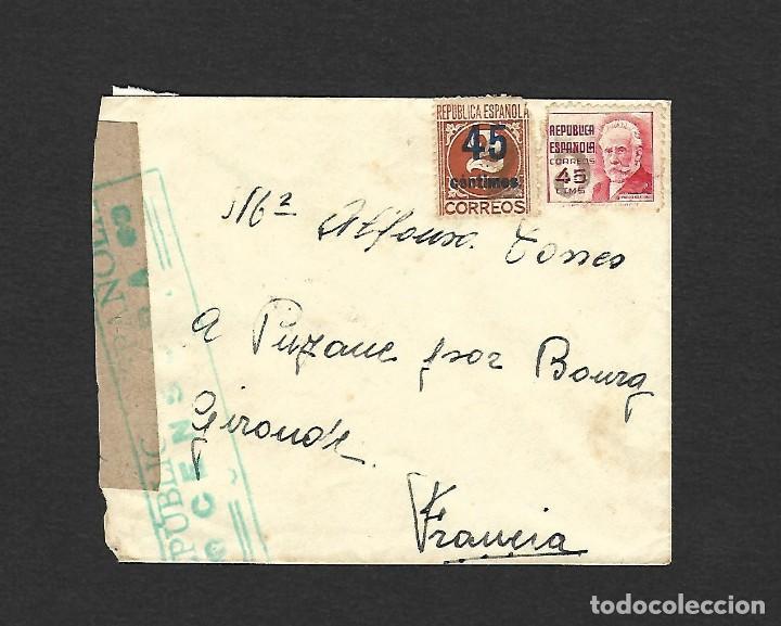 GUERRA CIVIL 1938 CARTA CIRCULADA DEL FRENTE A FRANCIA CENSURA EN VERDE (Sellos - España - Guerra Civil - De 1.936 a 1.939 - Cartas)