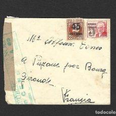 Sellos: GUERRA CIVIL 1938 CARTA CIRCULADA DEL FRENTE A FRANCIA CENSURA EN VERDE. Lote 171308857