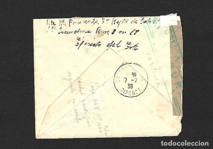 Sellos: GUERRA CIVIL 1938 CARTA CIRCULADA DEL FRENTE A FRANCIA CENSURA EN VERDE - Foto 2 - 171308857