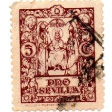 Sellos: SELLO LOCAL GUERRA CIVIL 5 CÉNTIMOS PRO SEVILLA (MARRÓN). Lote 171363410