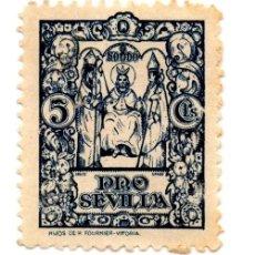 Sellos: SELLO LOCAL GUERRA CIVIL 5 CÉNTIMOS PRO SEVILLA (AZUL). Lote 171363704