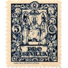 Sellos: SELLO LOCAL GUERRA CIVIL 5 CÉNTIMOS PRO SEVILLA (AZUL). Lote 171363719