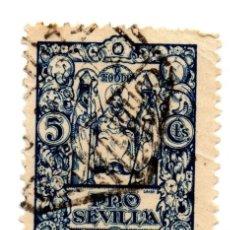 Sellos: SELLO LOCAL GUERRA CIVIL 5 CÉNTIMOS PRO SEVILLA (AZUL). Lote 171363822