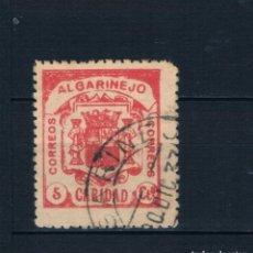 Sellos: GUERRA CIVIL SELLO LOCAL ALGARIÑEJO CARIDAD CORREOS 5 CTS (º) LOT010. MATASELLO ALGARIÑEJO 1937. Lote 171425375