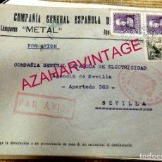 Sellos: SOBRE COMERCIAL LAMPARAS METAL, CIRCULADO DESDE MADRID A SEVILLA, AEREO, 1939, CENSURA MILITAR DE MA. Lote 171445312
