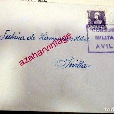 Sellos: NAVALUENGA, AVILA, SOBRE COMERCIAL GRANJA AVICOLA SIERRA, CIRCULADO, CENSURA MILITAR AVILA,1937. Lote 171449224