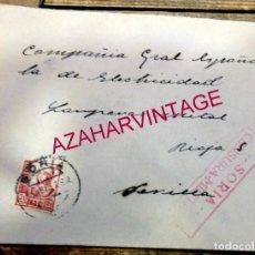 Sellos: SORIA,1937, SOBRE COMERCIAL MARTIN MARTINEZ ELECTRICISTA, CIRCULADA, DOBLE CENSURA MILITAR EN ROJO,R. Lote 171449608
