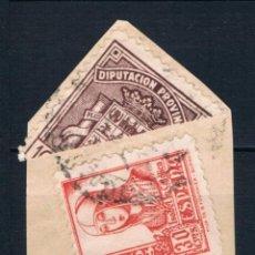 Sellos: GUERRA CIVIL SELLO LOCAL BISECTADO DIPUTACION PROVINCIAL DE CADIZ CON EDIFIL 823 LOT010. Lote 171453483