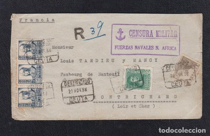 1938.- CEUTA A MONTRICHARD (FRANCIA) (Sellos - España - Guerra Civil - De 1.936 a 1.939 - Cartas)