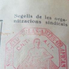 Sellos: GUERRA CIVIL ACTA COMITE CONTROL OBRERO CNT UGT AIT VIÑETAS GENERALITAT CATALUNYA 1937. Lote 171677700