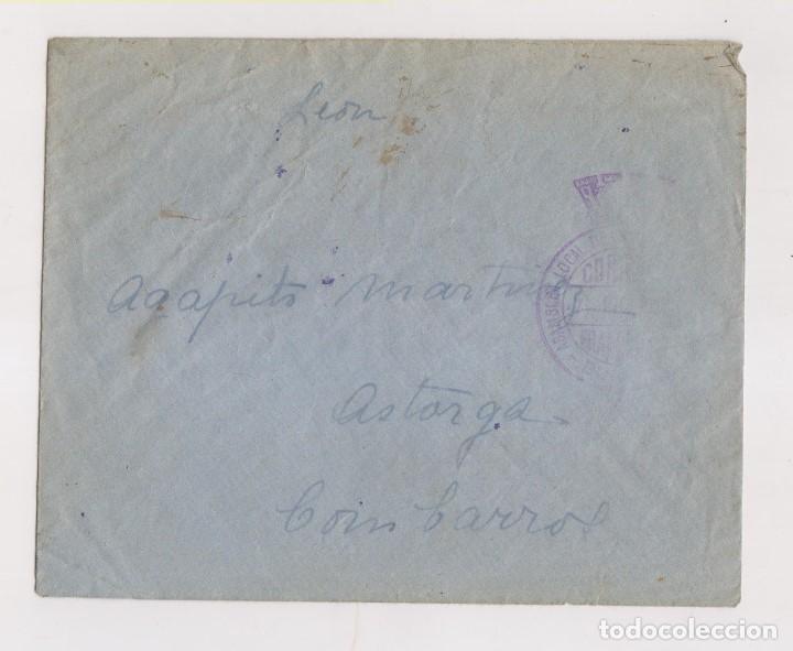 SOBRE CON FRANQUICIA. DE BURGOS A ASTORGA. COMBARROS. LEÓN. 1937. DORSO LLEGADA (Sellos - España - Guerra Civil - De 1.936 a 1.939 - Cartas)