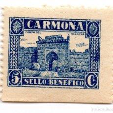 Sellos: SELLO LOCAL GUERRA CIVIL BENÉFICO 5 CÉNTIMOS / 5 CTS CARMONA (NUEVO). Lote 172169263