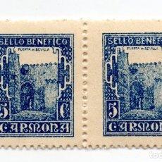Sellos: PAREJA DE 2 SELLO LOCAL GUERRA CIVIL BENÉFICO 5 CÉNTIMOS / 5 CTS CARMONA (NUEVO). Lote 172169662