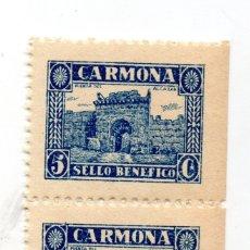 Sellos: PAREJA DE 2 SELLO LOCAL GUERRA CIVIL BENÉFICO 5 CÉNTIMOS / 5 CTS CARMONA (NUEVO). Lote 172169729