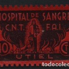 Sellos: UTIEL. -VALENCIA- C.N.T. F.A.I. 10 CTS, --HOSPITAL DE SANGRE-- SOFIMA Nº 6, USADO,VER FOTO. Lote 169829024