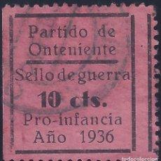 Sellos: PARTIDO DE ONTENIENTE. SELLO DE GUERRA. PRO INFANCIA AÑO 1936 (VARIEDAD...DENTADO).MUY ESCASO. LUJO.. Lote 172550120