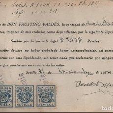 Sellos: SEVILLA, PAGO SALARIOS Y PAGO 4 SELLOS DE AUXILIO A NECESITADOS,DE 1 PTA- VER FOTO. Lote 172792084
