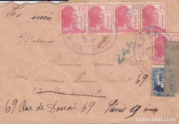 GUERRA CIVIL- SOBRE CON MATASELLOS DE CORREO DE CAMPAÑA BASE 3 CG. DESTINO FRANCIA (Sellos - España - Guerra Civil - De 1.936 a 1.939 - Cartas)