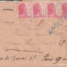Sellos: GUERRA CIVIL- SOBRE CON MATASELLOS DE CORREO DE CAMPAÑA BASE 3 CG. DESTINO FRANCIA . Lote 172834105