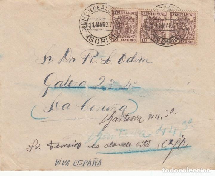 GUERRA CIVIL - SOBRE CON SELLOS DE TIMBRE MOVIL MATASELLOS DE MORON DE ALMAZAN - SORIA- 1937 (Sellos - España - Guerra Civil - De 1.936 a 1.939 - Cartas)