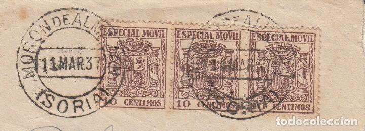 Sellos: GUERRA CIVIL - SOBRE CON SELLOS DE TIMBRE MOVIL MATASELLOS DE MORON DE ALMAZAN - SORIA- 1937 - Foto 2 - 172834404