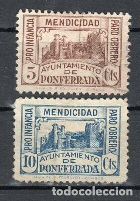 ESPAÑA 1937 611 Y 612 USADOS PONFERRADA GUERRA CIVIL BENEFICENCIA LOCAL (Sellos - España - Guerra Civil - De 1.936 a 1.939 - Usados)