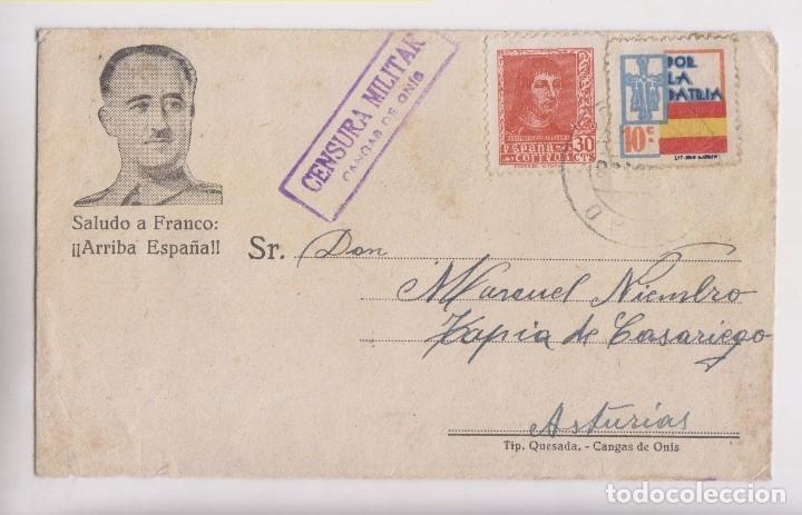 SOBRE. CANGAS DE ONÍS, ASTURIAS. CENSURA MILITAR (Sellos - España - Guerra Civil - De 1.936 a 1.939 - Cartas)