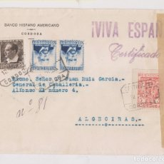 Sellos: SOBRE CERTIFICADO. CÓRDOBA A ALGECIRAS. 1936. RARA CENSURA MILITAR. Lote 172915380